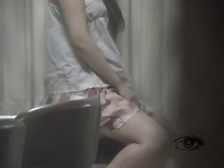 Asian girl masturbates by..