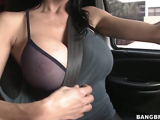 Car fun with a really busty..