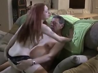 Oldman and hot redhead